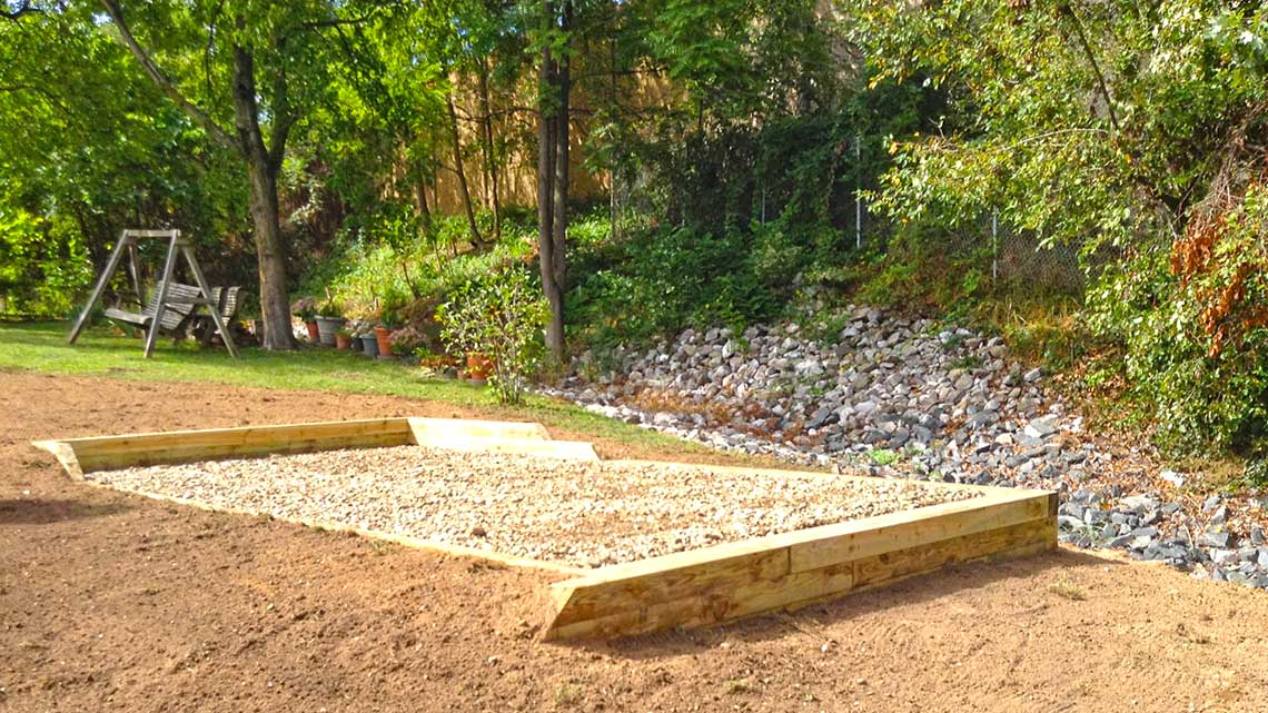 West Chester stone base foundation with storm water management