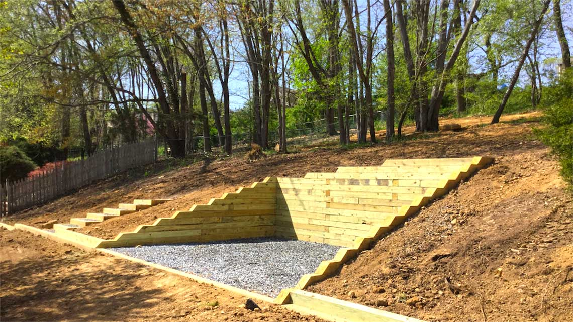 Timber retaining wall with steps in Langhorne PA