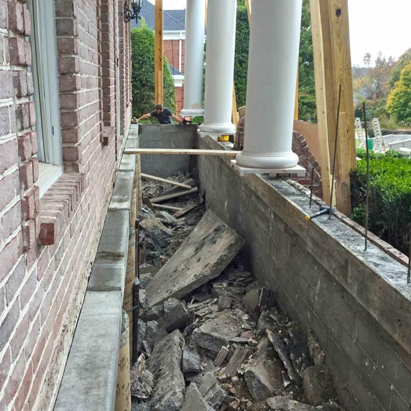 Porch demolition removal of old floor